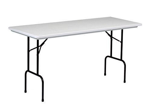 "Correll RS3072 R series, 36"" Standing Height Blow Molded Plastic Commercial Duty Folding Table, Rectangular, 30"" x 72"" , Gray Granite"