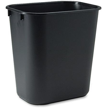 Rubbermaid Commercial Rectangular Black Soft Molded Plastic Wastebasket, 3.5 - Soft Wastebaskets Molded Plastic Black