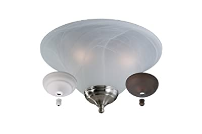 Monte Carlo MC04-L 3-Light Fan Light Kit, White Faux Alabaster Glass