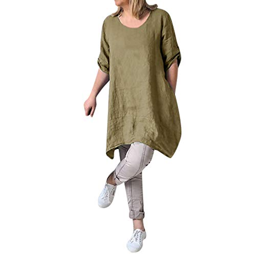 Alangbudu Women's Half Sleeve Tunic Dress V Neck Loose Swing Shift Linen Dresses Green by Alangbudu-Dresses (Image #1)