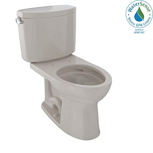 - TOTO CST454CEFG#03 Drake II Two-Piece Elongated 1.28 GPF Universal Height Toilet with CEFIONTECT, Bone