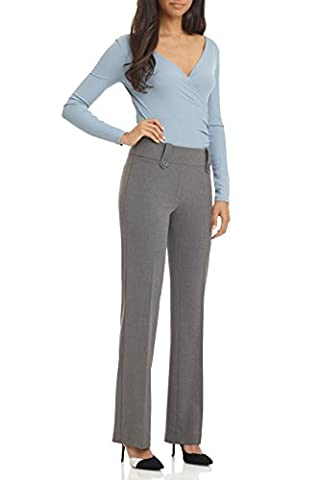Rekucci Women's Smart Desk to Dinner Stretch Bootcut Pant w/ Tummy Control (12SHORT,Charcoal) (Petite Office Pants)