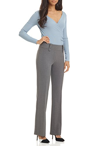 Rekucci Women's Smart Desk to Dinner Stretch Bootcut Pant w/Tummy Control (10,Charcoal)