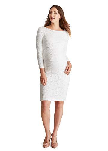 Discount Veils Wedding (Ingrid & Isabel Women's Maternity Boatneck Lace Dress, Winter White, Small)