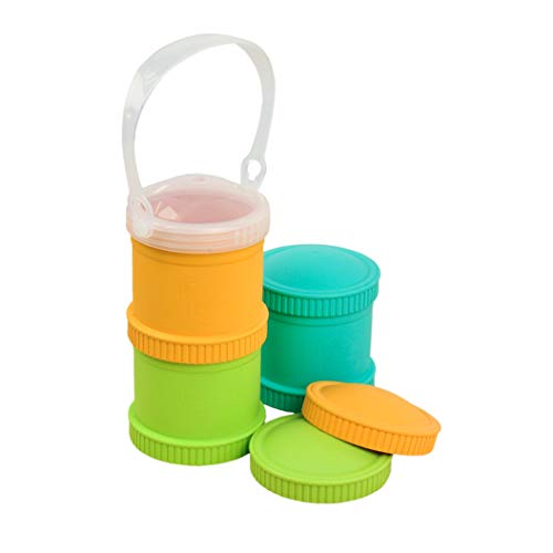Re-Play Made in The USA 7 Piece Stackable Food and Snack Storage Containers for Babies, Toddlers and Kids of All Ages - Aqua, Green, Sunny Yellow (Aqua Asst.)