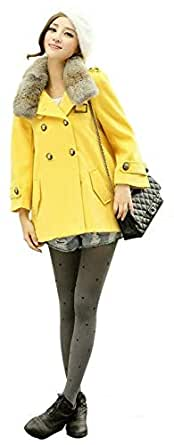 8406 Japanese plush collar double-breasted coat ladies coat Yellow Size:L