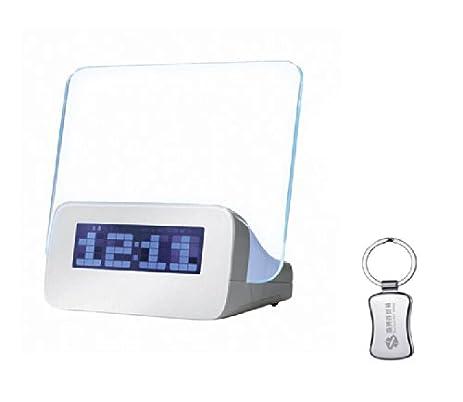 stylish blue led back light timer night stand digital message board alarm clock temperature calendar in