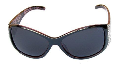 Sac d'Vox Eyewear gratuit de Rhinestone microfibres Vintage Lunettes de Cadre Mode Fumée Lentille Femmes Rouge Floral Polarisés soleil Avec wpPtC0xq