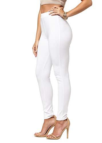 Elastic Waist Stretch Leggings - Premium Women's Stretch Ponte Pants - Dressy Leggings with Butt Lift - Off-White - Large/X-Large
