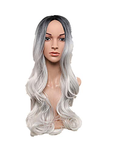 LONGLOVE European and American Fashion Black and Gray Gradient Wig Female Long Wavy Curly Hair Chemical Fiber Wig by LONG LOVE (Image #8)