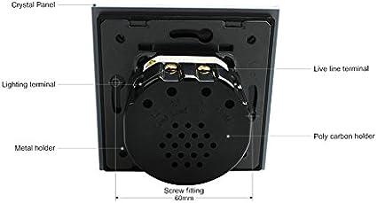 noir blanc Wallpad 1/Gang 2/Way Interrupteur tactile en verre
