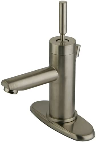 Kingston Brass KS8208DL Concord single Handle Lavatory Faucet with Brass Pop-Up Plate, Satin Nickel, 3-3 4 Spout Reach