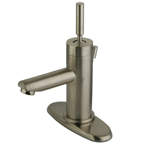 Kingston Brass KS8208DL Concord single Handle Lavatory Faucet with Brass Pop-Up & Plate, Satin Nickel, 3-3/4
