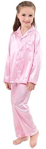 JOYTTON Kids Satin Pajamas Set PJS Long Sleeve Sleepwear Loungewear Pink