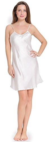 Aibrou Vestido Ropa de Dormir para Mujer, Satén Camisón Pijama Ropa Interior de Aspecto Brillante Blanco