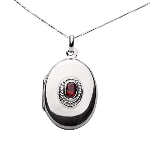 Sterling Silver Locket with Garnet Accent