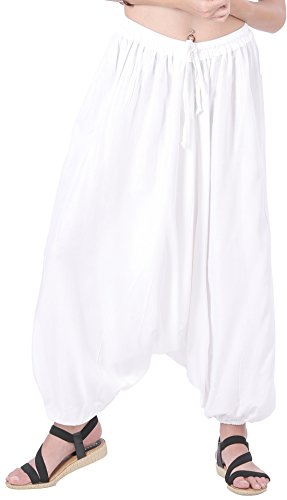 CandyHusky Men Women Baggy Hippie Boho Gypsy Yoga Harem Pants Aladdin Costumes (White) -