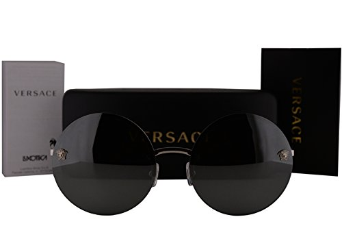 Versace VE2176 Sunglasses Silver w/Grey Silver Mirror Lens 10006G VE - Versace Sunglasses Round