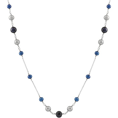 Splendid Pearls Handpicked AA Graduated 6-11mm Black, Grey and Dark Blue Freshwater Cultured Pearl Rhodium-Plated Sterling Silver Tin Cup Opera Necklace (Double Graduated Strand)