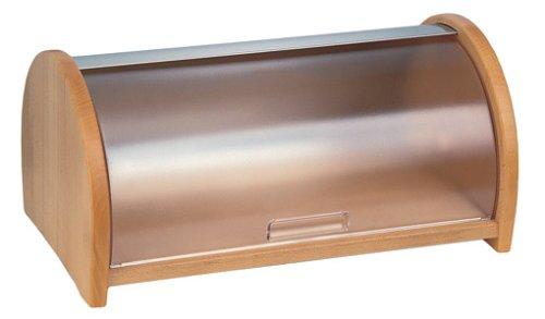 Emsa 2558451600 Rollbrotkasten, Echtes Buchenholz, 44 cm lang, Buche/Chrom, Scandic