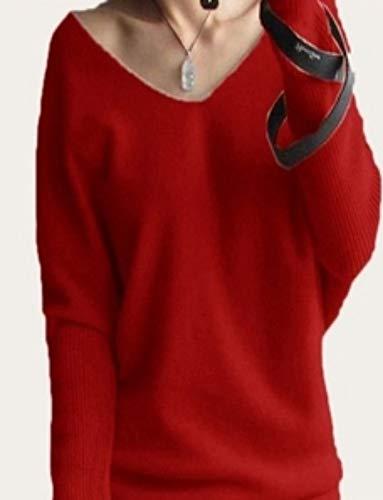 Para Extra Tamaño Grande Tfdgh Suelto L V Cuello En De nbsp; nbsp;manga nbsp; Suéter Con Primavera Mujer Pullove M qZ4O6tw