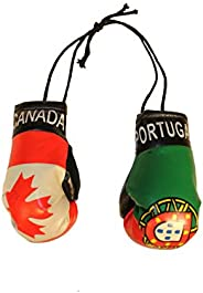 CANADA & PORTUGAL Country Flags Mini BOXING GLOVES.