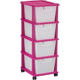 Drawer Plastic Storage Tower Pink Size H W Dcm