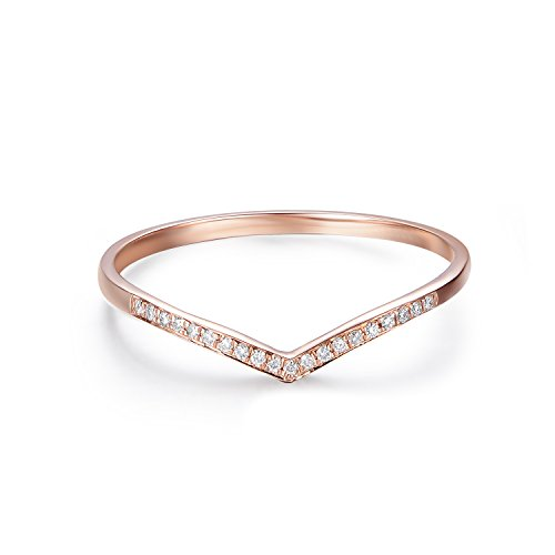 14K Gold Round Diamond V Shape Curved Wedding Ring (0.05 cttw, H-I2) (rose-gold, 6)