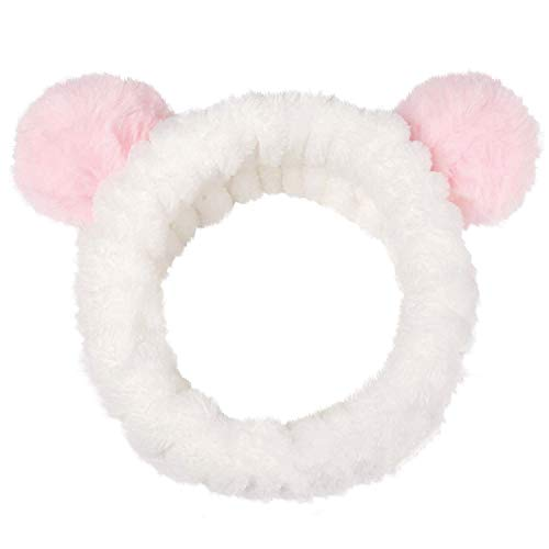 Headbands Makeup Washing Face Women Baby Girls Hair Bands Korean Beauty Products Animal Panda Ears Spa Yoga Makeup Running Washing Face Cute Hair Accessories Headwrap, Pink ()