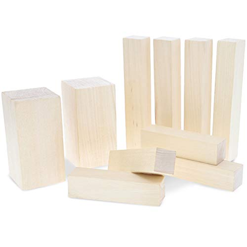 (Juvale 10-Pack Unfinished Basswood Carving Blocks for DIY Wood Crafts and Whittling, 3 Sizes )