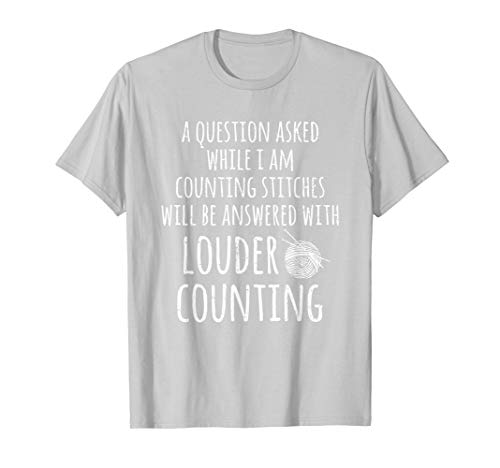Questions While Counting Stitches Funny Knitting T-Shirt