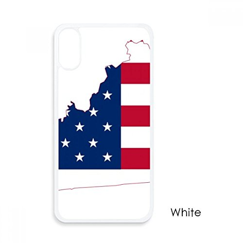 Kentucky USA Map Stars Stripes Flag Shape For iPhone X Cases White Phonecase Apple Cover Case Gift