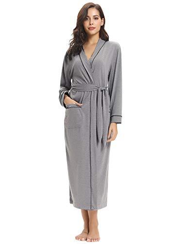 (Aibrou Women's Cotton Knit Long Kimono Robe Spa Bathrobe Soft Sleepwear Gray)