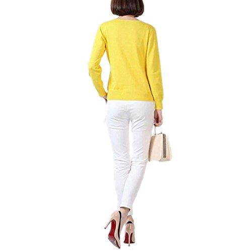 Tricot Casual V Manche Col Winfon Jaune Longue Pull Boutons avec Cardigan Femme Cardigans Chandail Gilet qfqwPXpgz