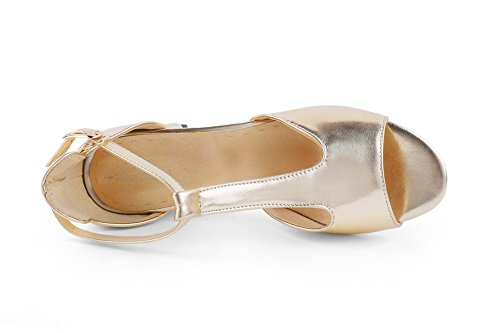 AmoonyFashion Womens PU Kitten-Heels Open-Toe Solid Buckle Sandals Gold 8pkKnAI7VV
