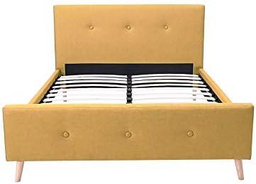 Mobilier Deco - Cama escandinava para 2 personas, tela amarilla con somier de 160 x 200 cm