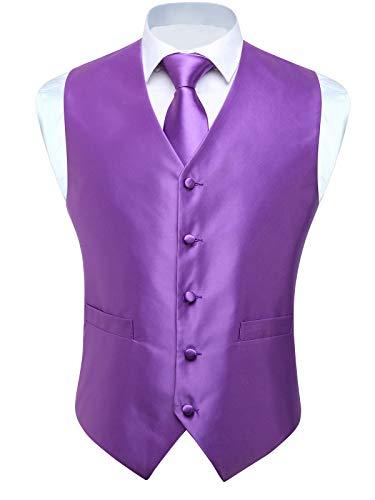 HISDERN 3pc Men's Solid Color Woven Dress Waistcoat & Necktie and Pocket Square Vest Suit Tuxedo Set Purple]()