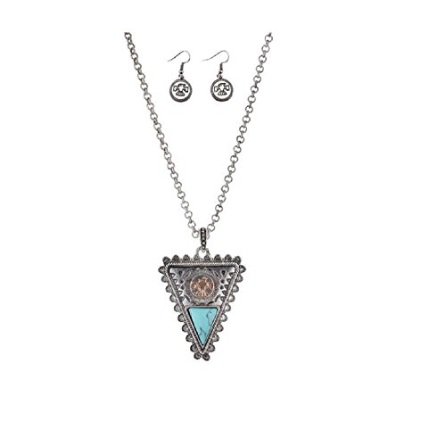 Tribal Native American Navajo Inspired Necklace and Earring Set with Resin Turquoise (Eagle on Arrow) (Native American Inspired Necklace)