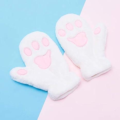 Warm Girls Gloves Cat Paw Plush Mitten Soft Fleece Gloves for Outdoor Skiing