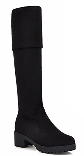 IDIFU Women's Comfy Chunky Lug Sole Thigh Over Knee High Boots Black 4 B(M) US
