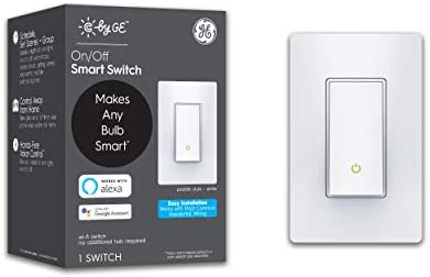 C by means of GE 3-Wire On/Off Paddle Style Smart Switch, Alexa and Google Home Compatible Without Hub, Smart Switch No Neutral Required, Bluetooth/WiFi Switch, Single-Pole/3-Way Smart Switch, White, 1-Pack