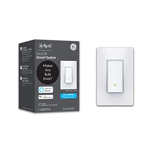 C by GE 3-Wire On/Off Paddle Style Smart Switch, Alexa and Google Home Compatible Without Hub, Smart Switch No Neutral Required, Bluetooth/WiFi Switch, Single-Pole/3-Way Smart Switch, White, 1-Pack