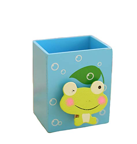 YOURNELO Wooden Hollow-Out Animal Pen Pencil Holder Desk Organizer Accessories (Frog)