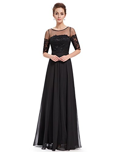 Ever-Pretty Womens Long Sleeve Illusion Neckline With Lace Mother Of The Bride Dress 14 US Black