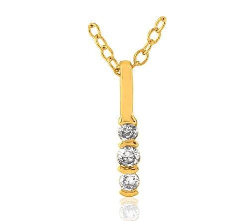 Or Jaune 18 ct Pendentifs Diamant en forme de bâton, 0.018 ct Diamant, GH-SI, 0.2465 grammes.