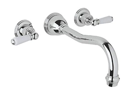 Rohl U.3780L-APC 9.19653Eb U.3780L Perrin and Rowe Wall Mount Tub Filler Faucet with Lever Handles, Polished Chrome