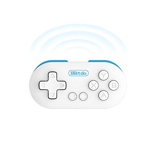 8bitdo Zero Mini Gamepad, Bluetooth Wireless Game Controller with Self Shutter function, Games Console for Android IOS Windows Iphone Ipad etc. Blue