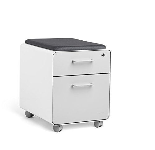 Poppin White + Light Gray Mini Stow File Cabinet with Casters and Pad ()