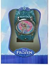 Disney Frozen Elsa Princess Watch with Metal Face and Blue Glitter Band