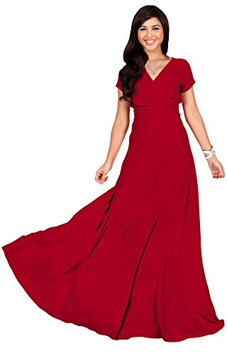KOH KOH Plus Size Womens Long Cap Short Sleeve V-Neck Flowy Cocktail Slimming Summer Sexy Casual Formal Sun Sundress Work Cute Gown Gowns Maxi Dress Dresses, Red 2XL 18-20